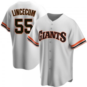 Men's San Francisco Giants Tim Lincecum Replica White Home Cooperstown Collection Jersey